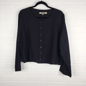 FLAX Button Front Cardigan Shirt Black Small
